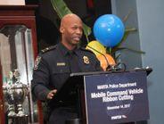 MARTA Emergency Preparedness Manager Lt. Aston Greene speaks from the podium. Photo: MARTA