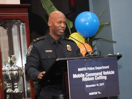 MARTA Emergency Preparedness Manager Lt. Aston Greene speaks from the podium. Photo: MARTA
