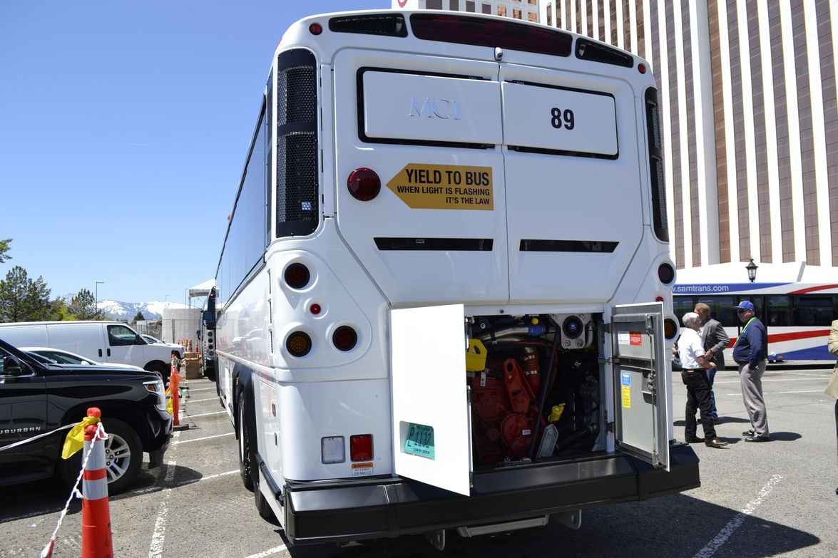 This 2016 MCI Commuter Coach features a Cummins ISX-G 400 horsepower 2016 CNG engine with an...