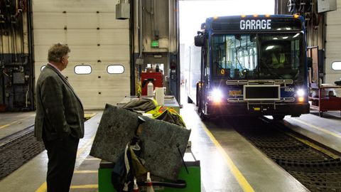 Winning in the 501-vehicles-and-over category, Ed Bennett, director of bus maintenance, oversees...