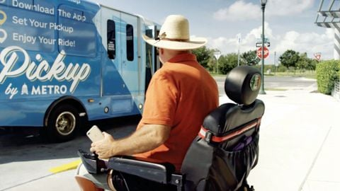 Below: Microtransit services are often appealing for areas where city leaders are looking for...