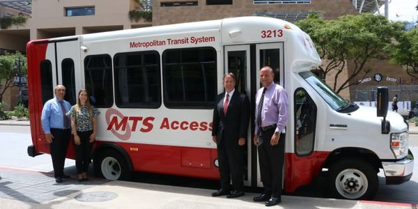 MTS began using the StarCraft product for its paratransit services in 2008. Pictured (from L to...
