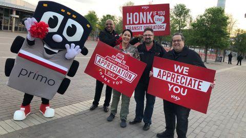 VIA President/CEO Jeffrey C. Arndt (center) celebrates Transit Driver Appreciation Day with...