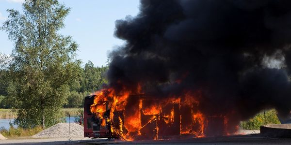Fig. 3: Fire in a gas bus conducted as part of a reconstruction for the Swedish Accident...