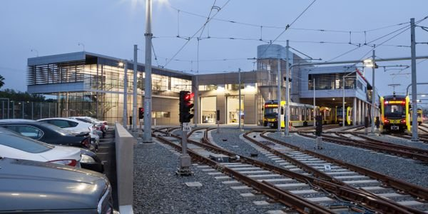 L.A. Metro's Expo Division 14 Light Rail Operations & Maintenance Facility in Santa Monica,...