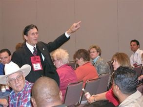 Randy McLerran, Oklahoma's state pupil transportation director for 20 years, will step down in February. He is seen here giving a presentation at the National Association for Pupil Transportation conference in 2005.