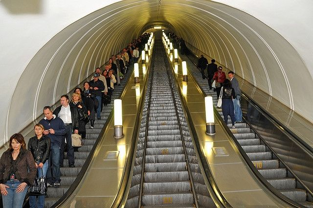 Moscow Metro escalators. Photo: Dennis Jarvis/Flickr