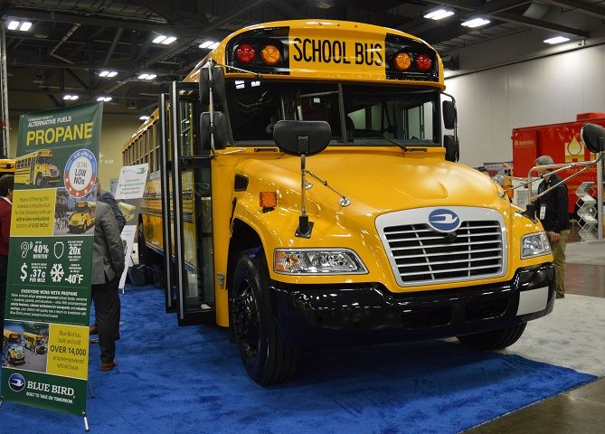 Blue Bird showcased its Vision Propane school busequipped with a low nitrogen-oxide (NOx) Roush...