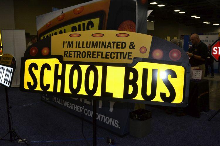 Illuminated safety product company First Light showcased its illuminated and retroflective sign,...