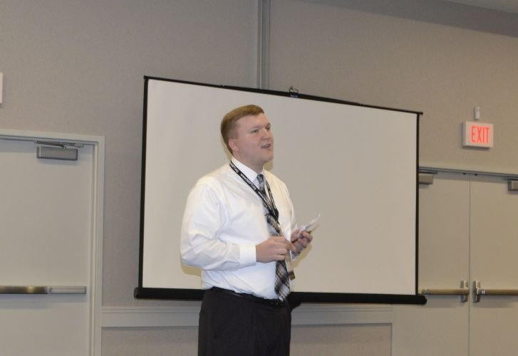 In a peer-to-peer learning session, Landon Allen, the director of information technology at...
