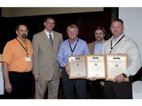 (From left) NSTA President Donnie Fowler, EPA administrator Jim Blubaugh, Dale Krapf, Bob Pudlewski and Blake Krapf. Three George Krapf Jr. & Sons locations were awarded with Gold and Silver Levels of Green Fleet Certification.