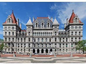 Legislation in New York would expand the list of crimes that prohibit a person from being a school bus driver. Pictured is the State Capitol.