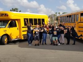 The transportation team at Alhambra (Calif.) Unified School District wore matching T-shirts with...