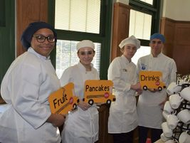 The breakfast menu included yummy pancakes, fruit, and drinks. Photo courtesy Lyons Township...