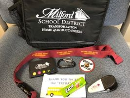 Milford (Del.) School District's transportation staff received gift bags filled with district...