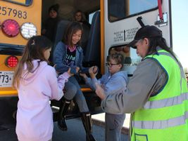 One of the week's activities included a school bus evacuation training. Photo courtesy Rainy...