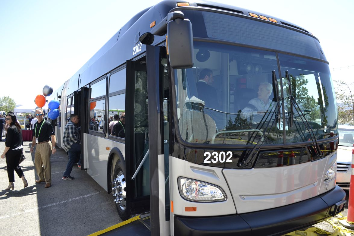 New Flyer showcased the XDE60 diesel-hybrid Xcelsior, which is also available in clean-diesel,...