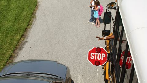 Thousands of stop-arm violations like the one depicted here occur every day thoughout the...