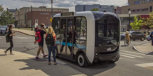 Local Motors' electric, driverless shuttle, Olli, can accommodate up to eight people. Photo:...