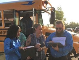 Transportation staff members were on-hand during the first day to ensure student pick ups and...