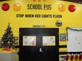 The Village Christian Schools transportation office looks very festive. Additionally, one of the...