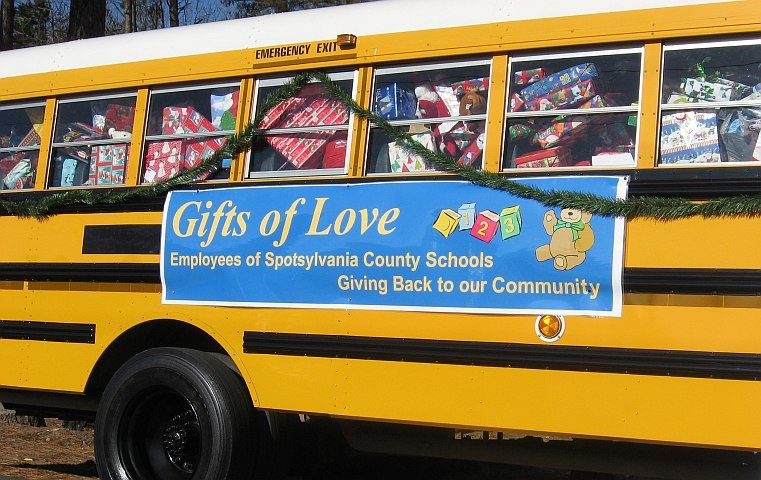 Spotsylvania County (Va.) Public Schools filled a school bus with wrapped presents for its ninth...
