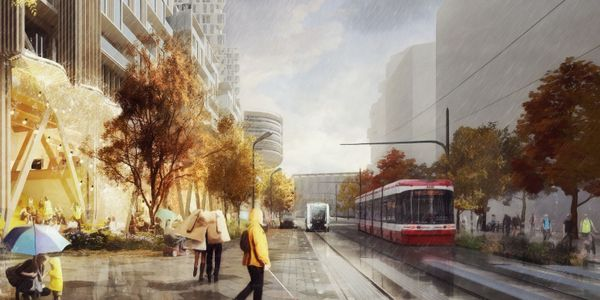 Rendering of a redesigned Queens Quay, with expanded pedestrian spaces, a key design element...