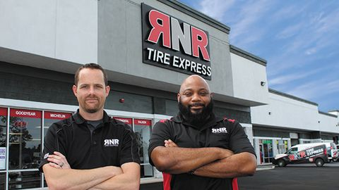 Matt King (left, pictured with Reggie Goodwin, manager of the 100th store) started with RNR as a...