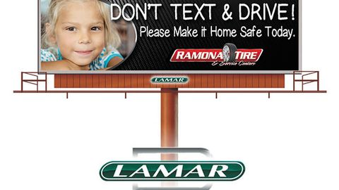 In addition to warning its employees on the dangers of texting and driving, Ramona Tire promotes...