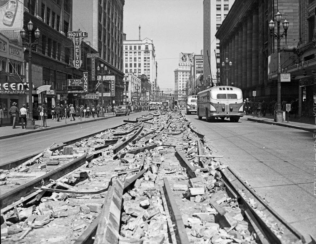 Removal of streetcar tracks on 3rd. Ave. Seattle 1943 - Seattle Muni Archives - Flickr