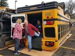 The Oregon Pupil Transportation Association (OPTA) South Willamette chapter's Feb. 20 workshop offered several hands-on exercises, including walking through an overturned school bus.