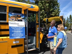 Attendees at the Oregon Pupil Transportation Association (OPTA) 2017 conference check out Blue Bird's Gasoline Vision Type C school bus. The event was held June 20 to 23 in Bend.