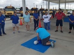 San Antonio Independent School District (ISD) held an engaging training event for its school bus drivers and other staff on June 5. More than 300 employees rotated through 10 stations, including CPR and first aid training.