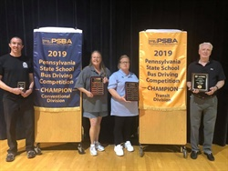 These four Pennsylvania school bus drivers will participate in the international competition, which will be held on July 21, in Austin, Texas. From left: Larry Hannon Jr., Ruth DelVecchio, Cheryl Vogelsang, and Jim O'Toole.
