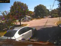 Video from a North Carolina school bus shows three cars hitting the bus one after the other, then speeding off. Shown here is an image from the video, which the Wilmington Police Department shared on its Facebook page.