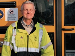 "Albin J. Weiler, a longtime school bus driver, wrote ""Driven to Learn,"" which details his experiences and those of his fellow drivers and includes pupil transportation tips. Photo courtesy Ron Humphrey, Windjammer Adventure Publishing"