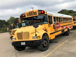 Alvarado (Texas) Independent School District recently conducted a month-long pilot program to install extended stop arms on four of its school buses. Photo courtesy Alvarado Independent School District