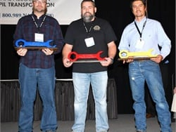 In the America's Best technician category, Jeremiah Bradberry (left) placed first, Larry Horton placed second, and Michael Brewer placed third. Photo courtesy Jaime Gallego