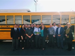 Bellflower (Calif.) Unified School District recently unveiled the two Blue Bird electric school buses it received in September. The buses were the first and second to come off the assembly line, according to Blue Bird. Photo courtesy A-Z Bus Sales