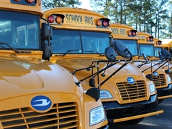 New research has found that nitrogen oxide emissions measured from propane school buses are about 95% less than those measured from diesel buses. Shown here are Blue Bird Vision propane school buses.
