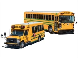 Customers in California and Ontario will operate a total of seven Blue Bird Type D electric buses (right) and one Micro Bird Type A electric model.