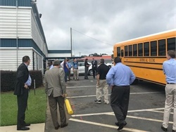Blue Bird and technology partner Adomani hosted a ride-and-drive to showcase Blue Bird's Type D electric RE bus for some of the largest utility companies in the U.S.
