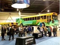 Blue Bird featured its electric school buses at the Canadian Pupil Transportation Conference trade show on Wednesday, one of many ride-and-drive events across the U.S. and Canada. Seen here is the All American RE Electric Type D school bus at the Ontario Transportation Expo in April.