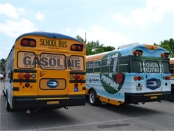 Blue Bird and Roush have reportedly deployed more than 16,000 propane (right), CNG, and gasoline (left) school buses since 2012.