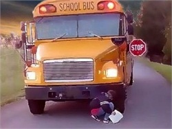 New Jersey Gov. Chris Christie has signed a bill that requires sensors to alert the school bus driver if there are children in front or in back of the bus.  Image courtesy 2safeschools