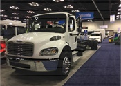 "Freightliner Custom Chassis"" S2C Cutway Commercial Bus Chassis features a 20% larger windshield compared to competitor; a 55-degree wheelcut offers improved maneuverability."