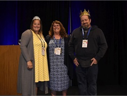 Pam McDonald, CASTO president (center), recognized attendees who have driven a school bus for the longest and shortest periods of time. Shown with her are Christie Anthony of Kern County Superintendent of Schools and Jason Cannon of Apple Valley Unified School District.