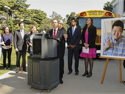 "Gov. Jerry Brown signed the ""Paul Lee School Bus Safety Law,"" which will require all school buses in the state to be equipped with child-check reminder alarm systems. Shown here at the podium is Sen. Tony Mendoza, the author of the bill, at a press conference in April."