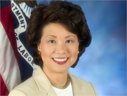 Elaine Chao served as secretary of labor under President George W. Bush. She also has prior experience in the Department of Transportation.