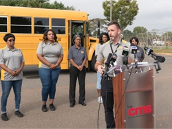 Charlotte-Mecklenburg (N.C.) Schools boosts pay for all of its school bus drivers to $15 an hour. Shown here is Adam Johnson, executive director of transportation, making the announcement. Photo courtesy Charlotte-Mecklenburg Schools